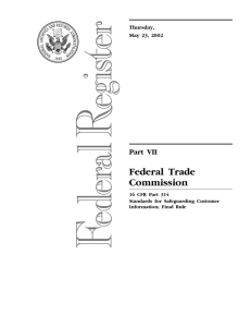 Federal Trade Commission Part VII Thursday,