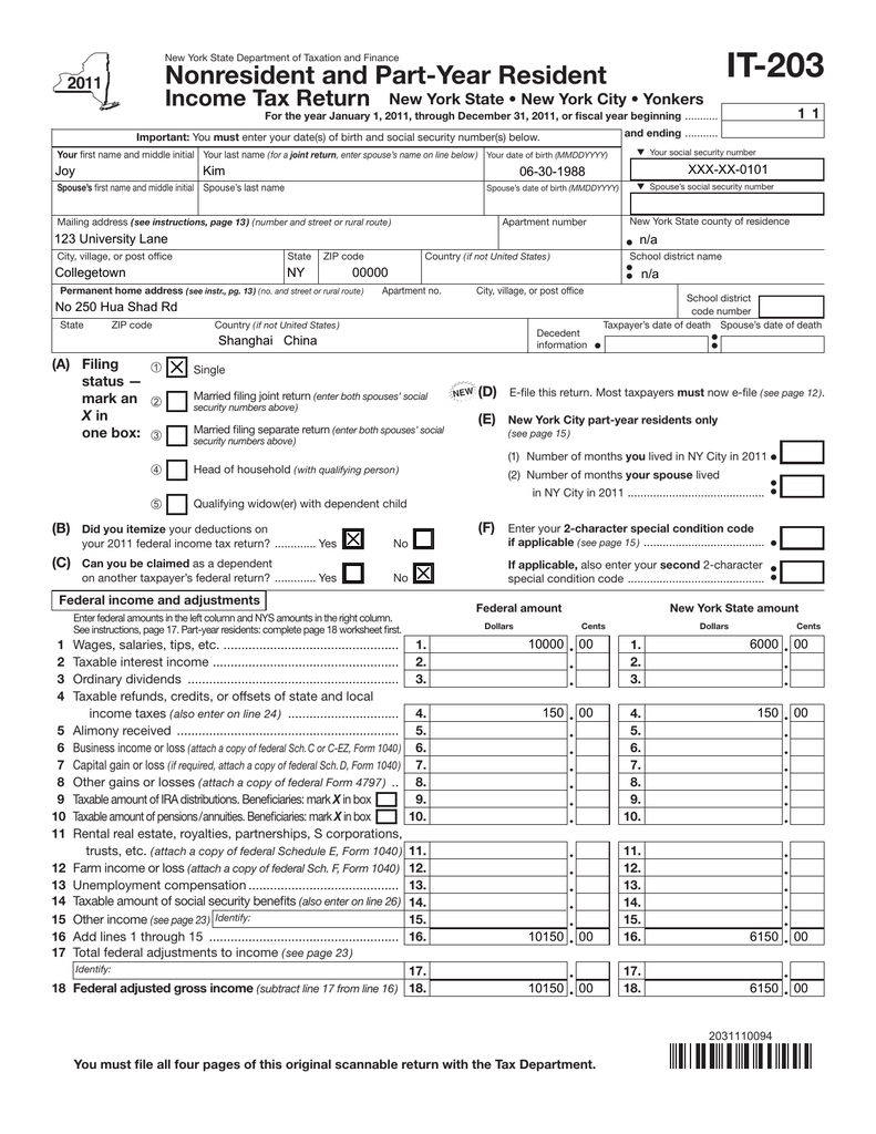 IT-203 Nonresident and Part-Year Resident Income Tax Return