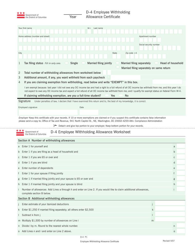 worksheet Allowances Worksheet d 4 employee withholding allowance certificate year
