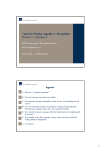 "Transfer Pricing Aspects of  Intangibles Session 5: ""Synergies"" Agenda"
