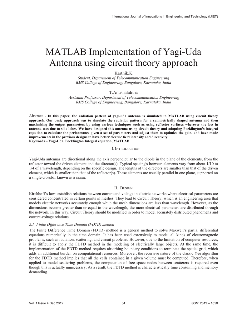MATLAB Implementation of Yagi-Uda Antenna using circuit