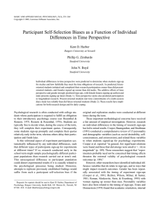 Participant Self-Selection Biases as a Function of Individual Kent D. Harber