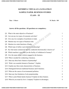 KENDRIYA VIDYALAYA SANGATHAN SAMPLE PAPER- BUSINESS STUDIES CLASS – XI