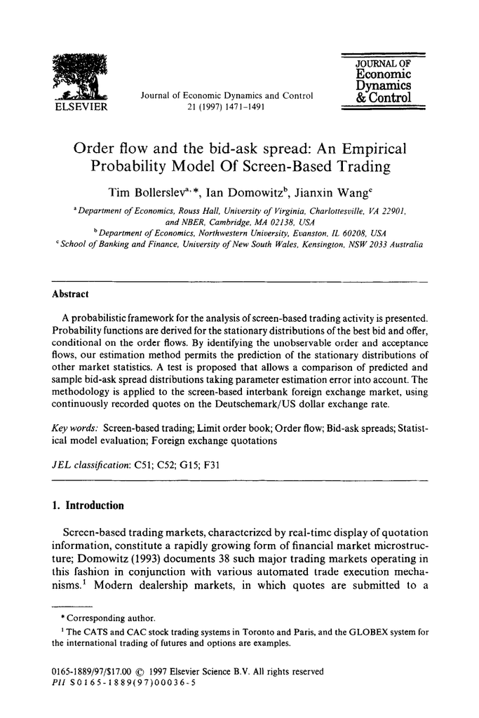 Order flow and the bid-ask     Probability Model Of Screen