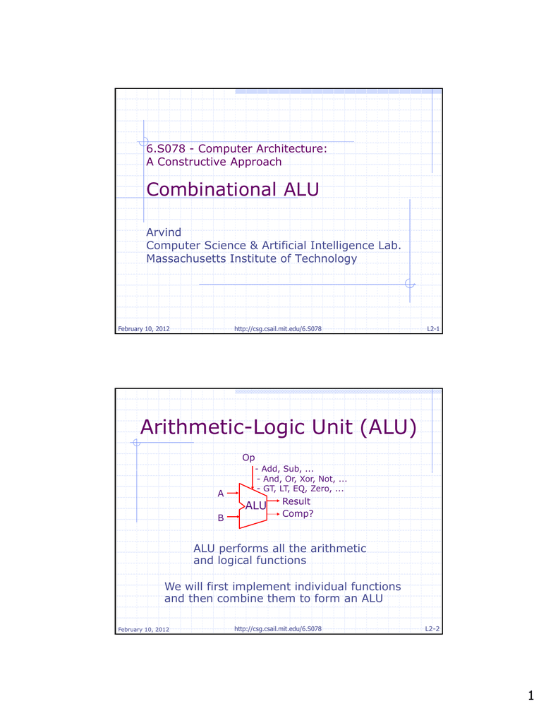 Arithmetic-Logic Unit (ALU) Combinational ALU