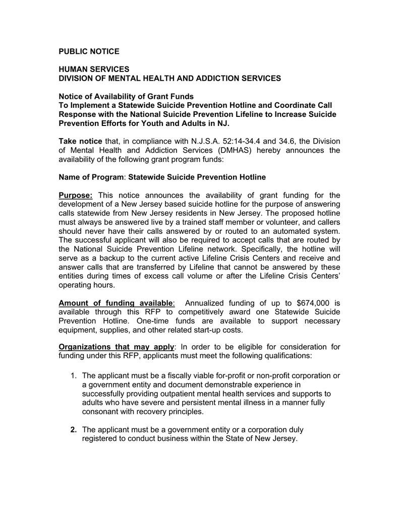 PUBLIC NOTICE HUMAN SERVICES DIVISION OF MENTAL HEALTH AND ADDICTION