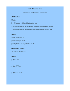 Math 142 Lecture Notes Section 6.2 – Integration by substitution A) Differentials Definition