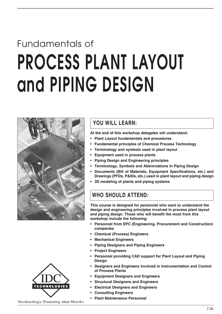 Process Plant Layout And Piping Design Fundamentals Of You Will Learn