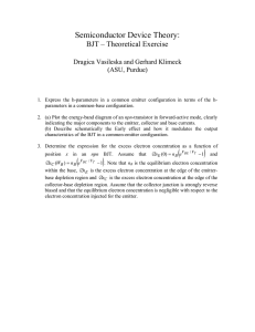 Semiconductor Device Theory:  BJT – Theoretical Exercise Dragica Vasileska and Gerhard Klimeck