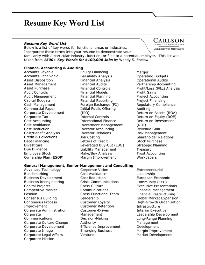Resume Key Word List