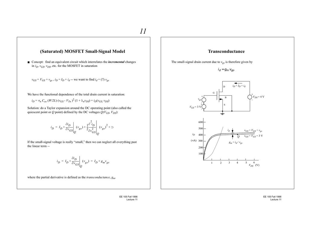 Saturated) MOSFET Small-Signal Model