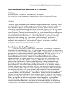 Overview of Knowledge Management in Organizations