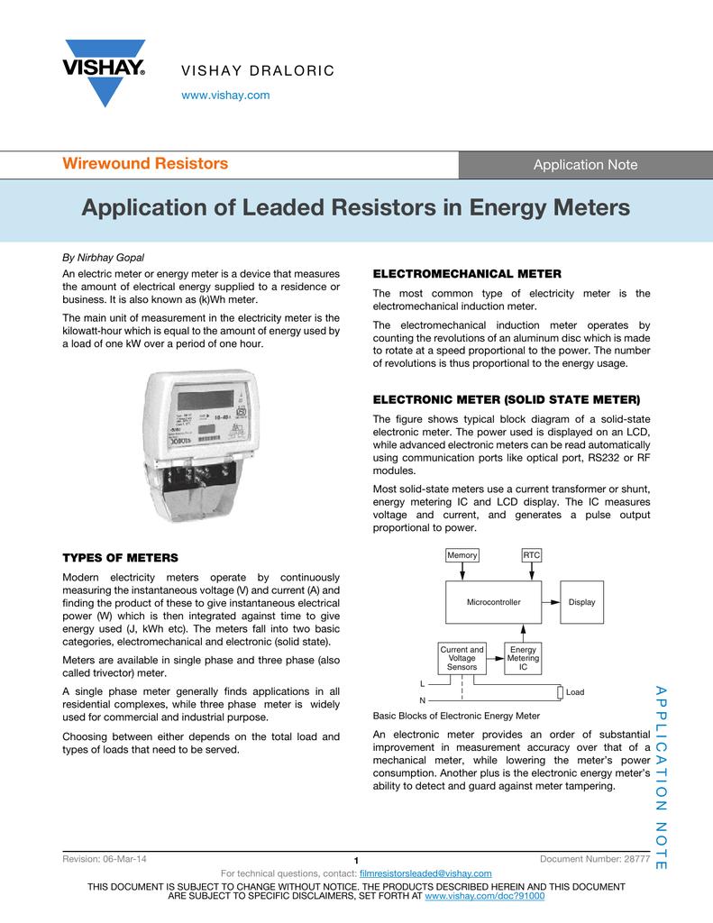Application Of Leaded Resistors In Energy Meters Wirewound 9s Ct Metering Wiring Diagram Note