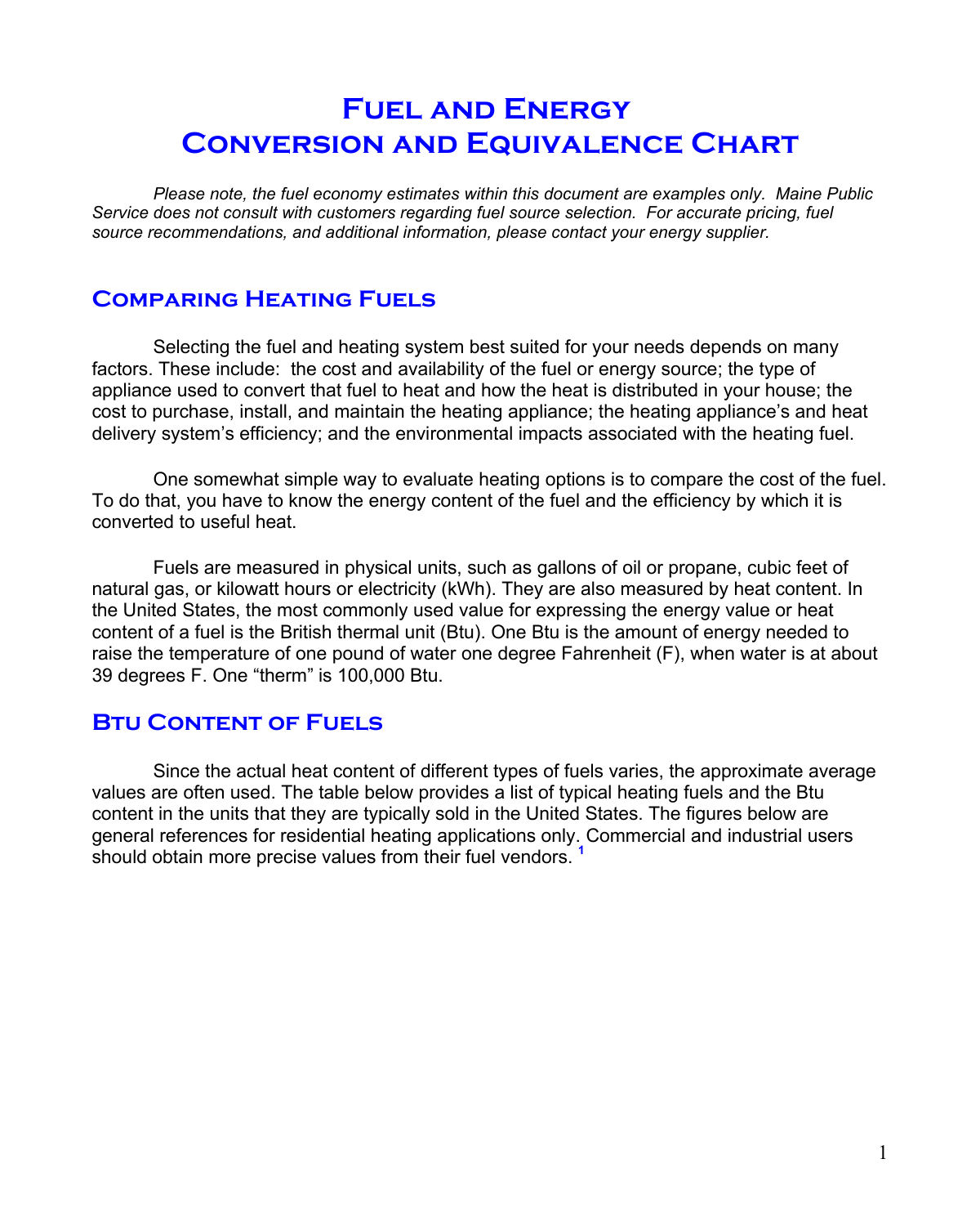 Fuel And Energy Conversion And Equivalence Chart