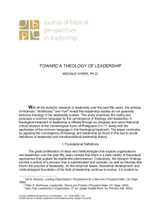 TOWARD A THEOLOGY OF LEADERSHIP W