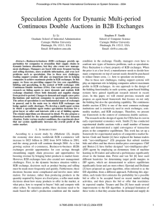Speculation Agents for Dynamic Multi-period Continuous Double Auctions in B2B Exchanges