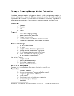 Strategic Planning Using a Market Orientation