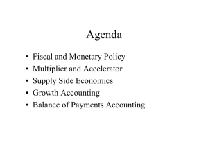 • Fiscal and Monetary Policy • Multiplier and Accelerator • Growth Accounting