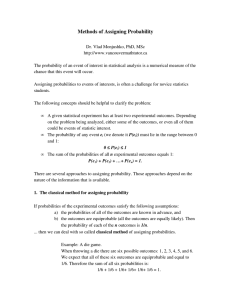 Methods of Assigning Probability