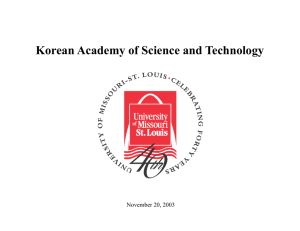 Korean Academy of Science and Technology  November 20, 2003