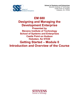 EM 680 Designing and Managing the Development Enterprise