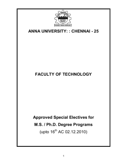 ANNA UNIVERSITY: : CHENNAI - 25  FACULTY OF TECHNOLOGY