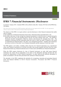 Financial Instruments: Disclosures 2012  Technical Summary
