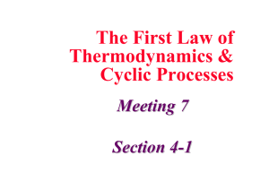 The First Law of Thermodynamics & Cyclic Processes Meeting 7