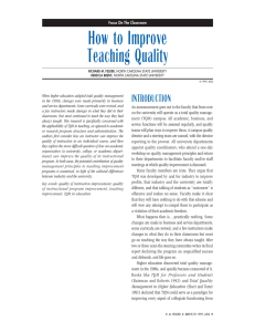 How to Improve Teaching Quality INTRODUCTION