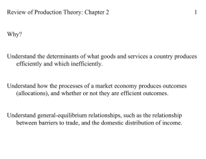 Review of Production Theory: Chapter 2 1 Why?