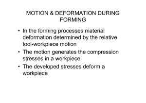 MOTION & DEFORMATION DURING FORMING • In the forming processes material