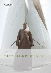 tHe five dimensions of QualitY middle east & afriCa  Creating tomorrow's solutions