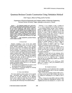 Quantum Boolean Circuits Construction Using Tabulation Method Lu, Kuo