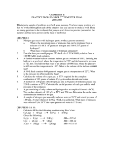 CHEMISTRY II PRACTICE PROBLEMS FOR 2 SEMESTER FINAL 2008-2009
