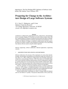 Appearing in: The First Working IFIP Conference of Software Archi-
