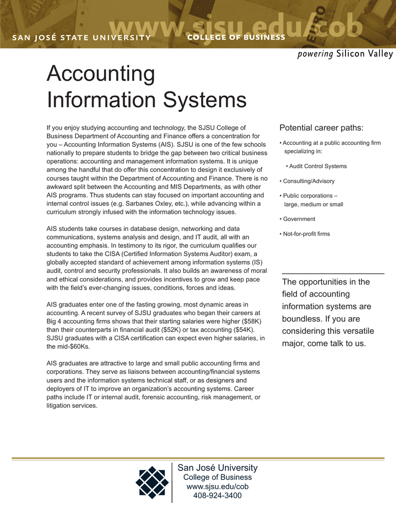 Accounting Information Systems Potential career paths: