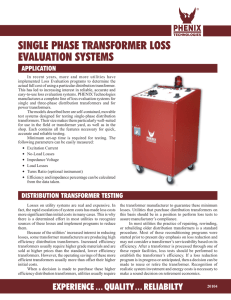 SINGLE PHASE TRANSFORMER LOSS EVALUATION SYSTEMS APPLICATION