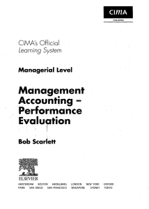 Management Accounting - Performance Evaluation
