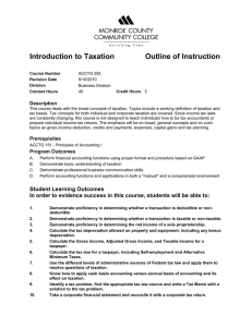 Introduction to Taxation Outline of Instruction Description