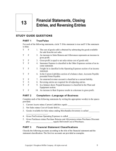 13 Financial Statements, Closing Entries, and Reversing Entries