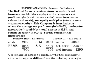 The DuPont formula relates return on equity (= net income