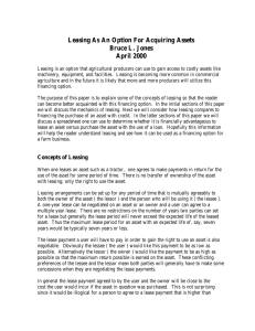 Leasing As An Option For Acquiring Assets Bruce L. Jones April 2000