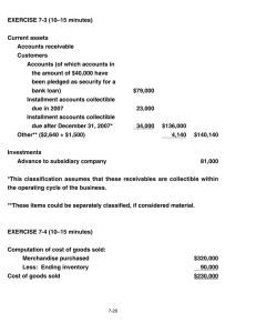 EXERCISE 7-3 (10–15 minutes) Current assets Accounts receivable Customers