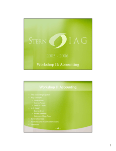 Workshop II: Accounting The Accounting Equation ƒ Key Concepts