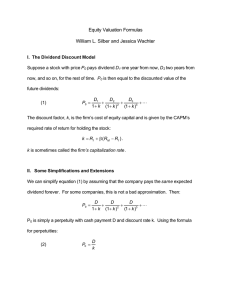 Equity Valuation Formulas  William L. Silber and Jessica Wachter