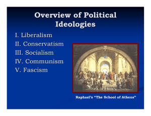 Overview of Political Ideologies I. Liberalism II. Conservatism
