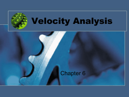 Velocity Analysis Chapter 6