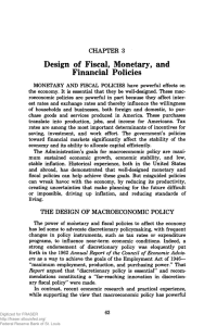 Design of Fiscal, Monetary, and Financial Policies CHAPTER 3