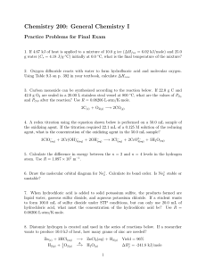 Chemistry 200: General Chemistry I Practice Problems for Final Exam