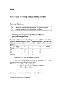 Unit 1  Lesson 20 :Solving Assignment problem •